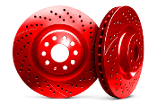 CHROMEBRAKES DRILLED ROTORS (RED), 12-14 HONDA CIVIC SI